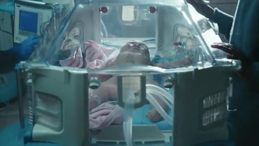 AT&T ad showing baby in hospital