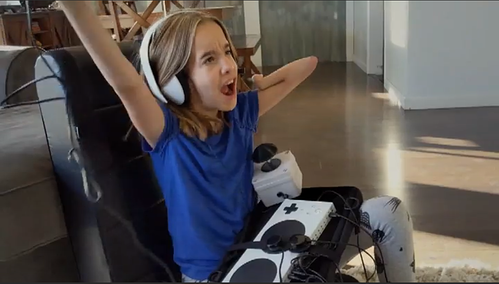 Microsoft Super Bowl commercial featuring a child playing with the Xbox Adaptive Controller.