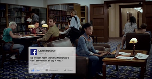 Ad showing people at computers and Facebook graphic.