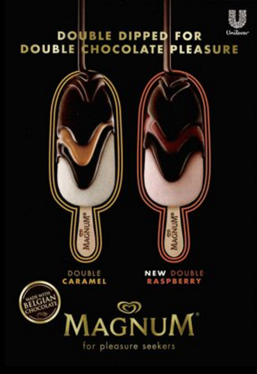 Magnum print or digital display show melting chocolate ice cream bars.