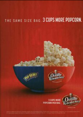 Orville Redenbacher print or digital display shows how much more popcorn is included.