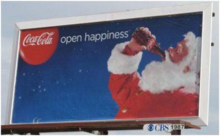 Coca-Cola's OOH ad with Santa.