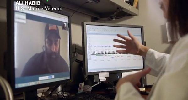 T-Mobile ad featuring veteran getting remote care from doctor.