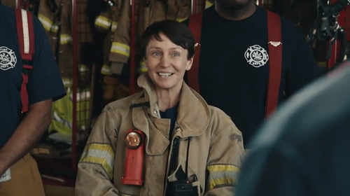 Female First Responder featured in Verizon ad.