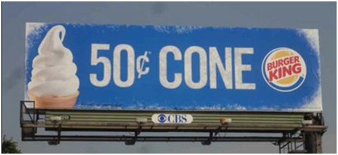 Burger King $50 cone outdoor ad.