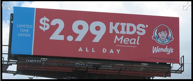 Wendy's billboard that placed #1 out of 803 ads