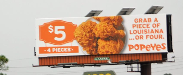 Popeyes Billboard - 4 pieces for $5.