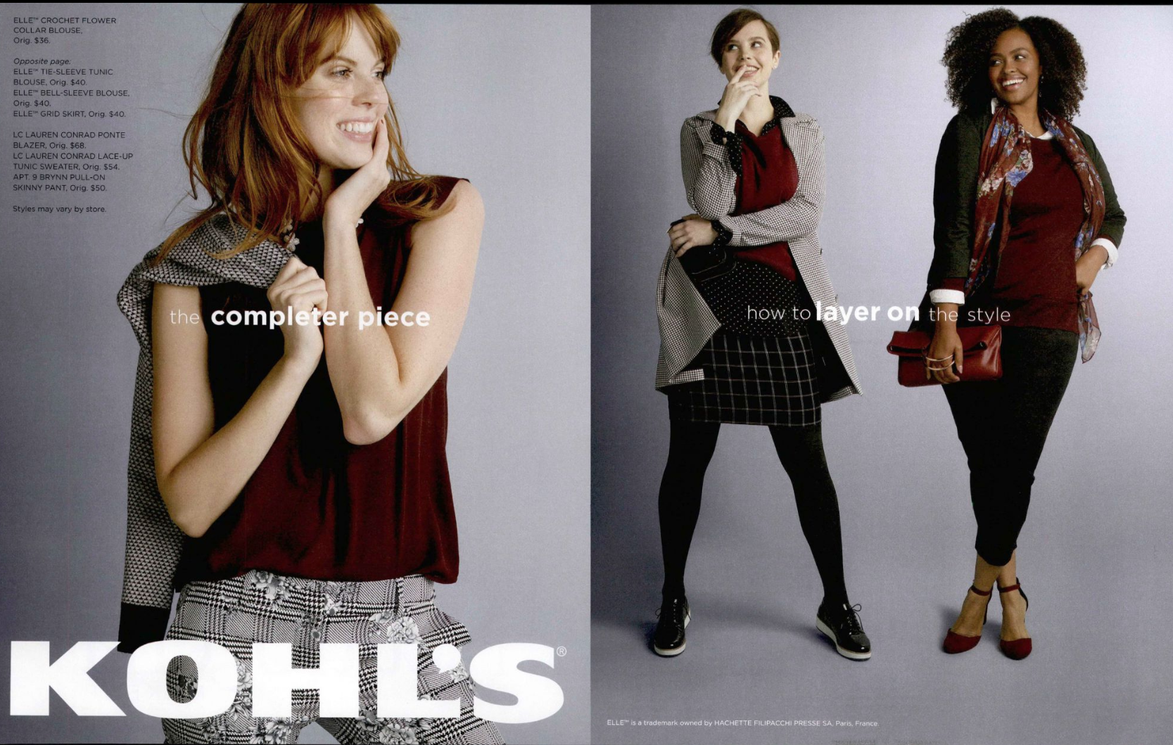 Kohl's photo of models in mix & match fashions.