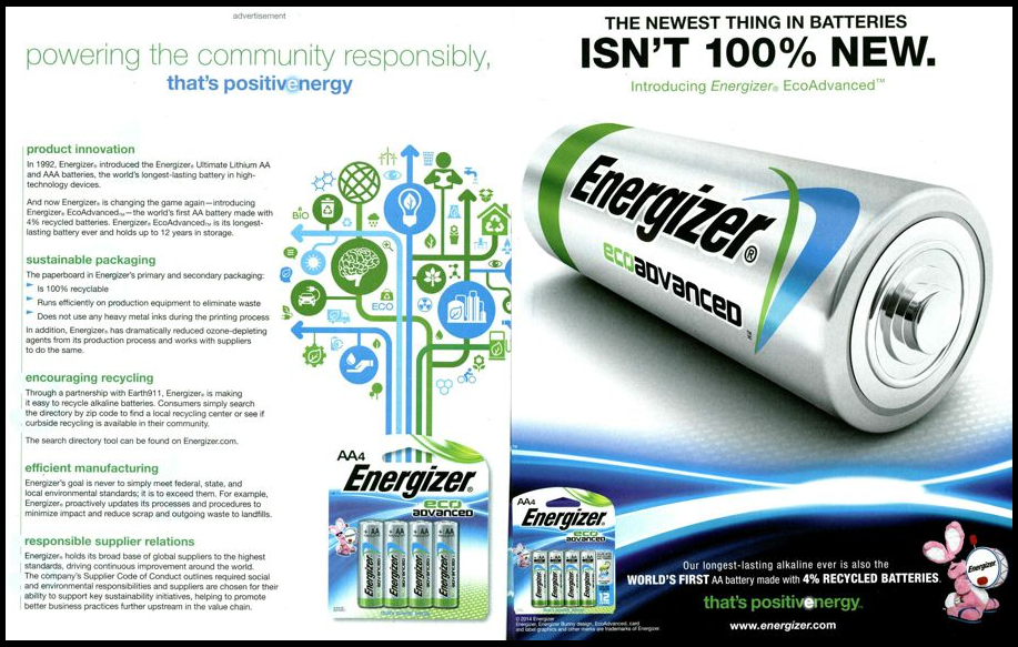 Energizer print ad with details about energy efficiency.